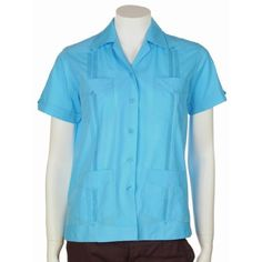 Guayabera shirt for women basic style polycotton turquoise blue medium mycubanstore. $28.75