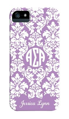 Alpha Sigma Alpha damask phone case