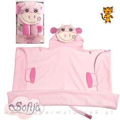 Różowe okrycie kąpielowe z krówką. Jest bardzo chłonne, ręcznik jest duży, wystarczy więc na długo. Pod szyją znajduje się praktyczne zapięcie, mamy więc pewność, że dziecku po kąpieli będzie bardzo ciepło. #supermaluszek #okryciekąpielowe #dziecko