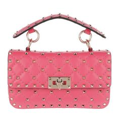 c949b2294df Valentino Small Rockstud Spike Pink Calfskin Leather Cross Body Bag -  Tradesy Diamond Quilt