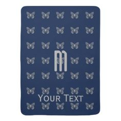 Custom Silver Butterfly Pattern Blue Monogram Stroller Blanket