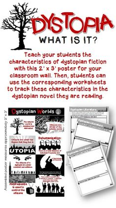 Teach your students all about dystopian fiction with this poster and corresponding worksheets.