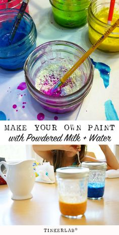 Homemade paint recipe: Homemade paints are awesome and this Powdered Milk Paint Recipe makes gorgeous paint for kids. Craft Projects For Kids, Crafts For Kids To Make, Crafts For Teens, Kids Crafts, Art For Kids, Homemade Paint, Homemade Crafts, Fun Arts And Crafts, Arts And Crafts Projects