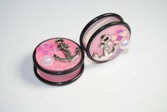 Anchor, Glittery Pink 7/8 inch (22mm) Acrylic Plugs, Ear Gauges, Girly, Cute, Pearl, Stretched Ears, Pastel, Light, Floral, Plugs for Girls on Etsy, $15.00