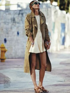 little white dress and long suede jacket