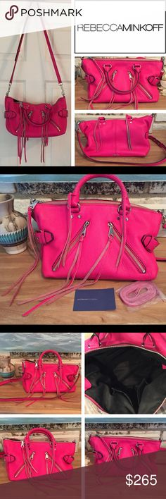 REBECCA MINKOFF Moto Satchel In Rare Flamingo Minkoff Moto Satchel in extremely hard-to-find Flamingo pink. Beautiful bright pink is more sophisticated than the Neon Bubblegum Pink, not as dark as Fuchsia.  A signature Rebecca Minkoff satchel in pebbled leather. 2 diagonal zip pockets with long pulls accent the front. Side buckles & tassels give it a trendy feel. Top zip & lined, 4-pocket interior. Rolled handles & optional, adjustable shoulder strap.  Cowhide Leather w/Synthetic lining Zip…