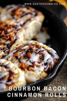 Bourbon Bacon Cinnamon Rolls - perfect for breakfast and brunch, these rolls are full of bacon, flavored with bourbon, as is the frosting on top. Brunch Recipes, Sweet Recipes, Breakfast Recipes, Dessert Recipes, Brunch Ideas, Bacon Cinnamon Rolls, Cinnamon Rolls From Scratch, Cinnamon Recipe, Breakfast And Brunch
