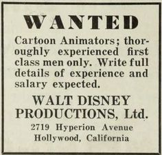 Ad: Walt Disney Productions looking for Animators (The Film Daily; 1932-09)