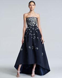 Navy blue made interesting. (Oscar de la Renta | Embellished High-Low Gown)