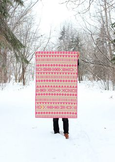 Geometric Baby Girl Quilt - Pink and Yellow