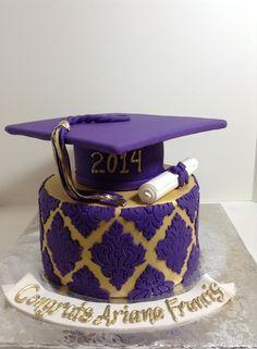 Purple and gold damask grad cake, Sugarnomics Cake Studio Guam