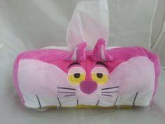 Disney Store Alice in Wonderland Cheshire Cat & Rabbit Plush Tissue Cover Japan