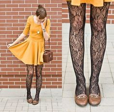 Patterned tights and yellow dress