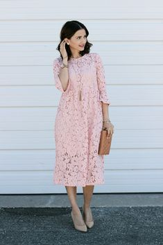 Flared Sleeve Pink Lace Midi Dress Pink Aviator Sunglasses Chanel Wallet on a Chain