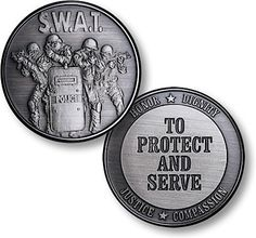 SWAT Protect and Serve Nickel Antique Coin