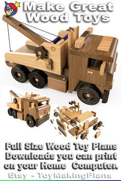 Black White Pattern, White Patterns, Wood Toys Plans, Wooden Truck, Tow Truck, Tandem, Toys For Boys, Woodworking Tools, Wooden Toys
