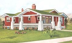 Craftsman Color Scheme: A green roof on a red-brown Craftsman style house OMG. This is just what my house will look like! Craftsman Bungalow Exterior, Cottage Exterior, Craftsman Bungalows, Craftsman Style, Craftsman Houses, House Color Schemes, House Colors, Roof Styles, House Styles