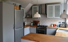 Pendant lamps, VEDDINGE cabinet doors, plenty of surface space | @angelinthenorth's kitchen, UK