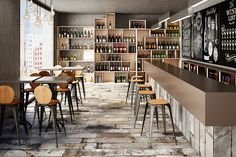 Brickwork by Aparici imitates the texture and patterns of several concrete grades, including the shadings of bushammered concrete mix. This porcelain collect. Brick Effect Tiles, Garden Tiles, Contemporary Tile, Traditional Tile, Spanish Tile, Restaurant Interior Design, Brickwork, Modern Industrial, Bar
