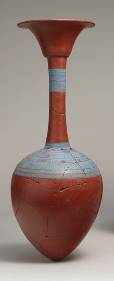 Water bottle from Tutankhamun's embalming cache, New Kingdom, Dynasty 18, reign of Tutankhamun, c. 1336 - 1327 BC    http://www.metmuseum.org/toah/works-of-art/09.184.83