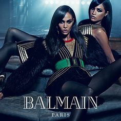 Mario Sorrenti photographs famous sister duos for the Balmain Fall 2015 campaign: Erika and Joan Smalls.