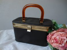 Black Box Purse Tortoise Amber Lucite Handle Vintage at Quilted Nest Cute Modest Outfits, Black Box, Black Faux Leather, Satin Fabric, Hermes Kelly, Tortoise, Vintage Black, Vintage Shops, Nest