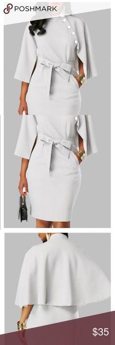 5c74afaffde Cape sleeve dress Cape sleeve dress with belt Dresses Midi