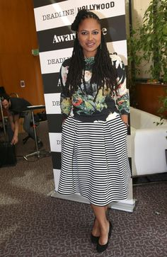 This, children, is how you mix prints. Florals with black and white stripes, done the DuVernay way. | 15 Reasons Ava DuVernay Is Your New Fashion Icon