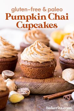 These Gluten-Free & Paleo Pumpkin Chai Cupcakes are soft, moist and bursting with warm chai spices and pumpkin flavor. It's seasonally on-point and absolutely delicious. #pumpkin #chai Gluten Free Recipes For Dinner, Gluten Free Sweets, Best Dessert Recipes, Healthy Desserts, Easy Desserts, Delicious Desserts, Paleo Recipes, Baking Recipes, Healthy Food