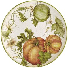 Harvest Garden Pumpkin Dinner Plate click the link now for more info. Thanksgiving Dinner Plates, Thanksgiving Decorations, Fall Decorations, Holiday Decor, China Painting, Ceramic Painting, Dinner Bowls, Watercolor Fruit, Gothic Aesthetic
