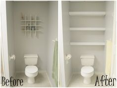Before And After Remodel Tiny And Narrow Bathroom Spaces Painted With White Wall Interior Color Decoration Plus DIY Wood Wall Mounted Storage Over Toilet Ideas, Tiny Bathroom Storage Ideas Furniture Decorating Bathroom Shelves, Bathroom Towel Storage, Floating Shelves Bathroom, Diy Bathroom, Bathroom Wall Decor, Narrow Bathroom, Bathroom Vanities, Small Bathrooms, Target Bathroom