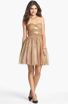 Hailey by Adrianna Papell Metallic Mesh Fit & Flare Dress on shopstyle.com
