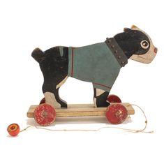 terriers Antique Boston Terrier Wooden Dog Pull Toy c. Original Paint Vintage Look - Boston Terriers, Boston Terrier Temperament, Boston Terrier Love, Terrier Breeds, Terrier Puppies, Bull Terrier Dog, Dog Breeds, Antique Toys, Antique Furniture