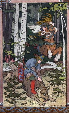 1899年、ロシアのイラストレーター、イヴァン・ビリビンによるロシア民話「イワン王子と火の鳥と灰色オオカミ」の挿絵。