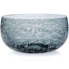 GREY | Handmade Glass Blown Fruit Bowl, Bambou-Grey 5090, height: 110 mm | widest diameter: 220 mm | Bohemian Crystal | Crystal Glass | Luxurious Glass | Hand Engraved | Original Gift for Everyone | clarescoglass.com