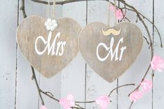 Mr & Mrs Chair Plaques, Rustic Wedding Signs, Wedding Chair Signs, Bride and Groom Wedding Chair signs, Wedding gift, Wedding photography by SimplyCosyMBA on Etsy