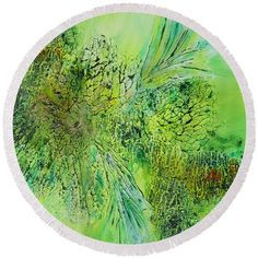 Abstract Art - The colors of Spring Round Beach Towel by Sabina Von Arx Beach Towel Bag, Green Bathroom Decor, The Colour Of Spring, Green Colors, Colorful Backgrounds, Original Paintings, Abstract Art, Canvas Prints, Joyful