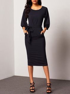 Puff Sleeve Belt Chiffon Slim Dress Mobile Site