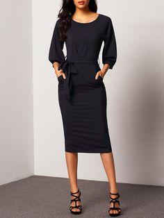 Puff Sleeve Belt Chiffon Slim Dress Mobile Site