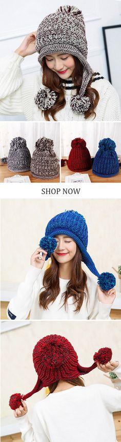 Women Winter Earflap Knit Trapper Warm Hats Acrylic Pompom Beanie Hats Bomber Hat