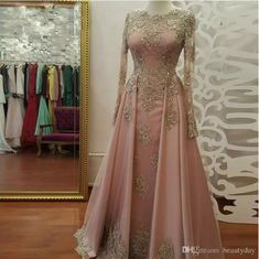 2018 A-line Prom Dresses Scoop Long Sleeve Pink Applique Long Prom Dress Evening. - 2018 A-line Prom Dresses Scoop Long Sleeve Pink Applique Long Prom Dress Evening Dresses Sexy Evening Dress, Prom Dresses Long With Sleeves, Pink Prom Dresses, A Line Prom Dresses, Tulle Prom Dress, Cheap Prom Dresses, Homecoming Dresses, Dress Long, Dress Formal