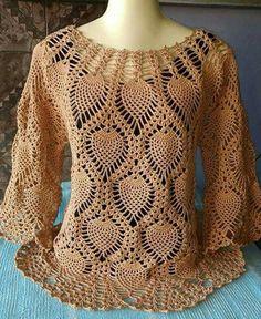 Crochet Blusas Beautiful pineapple crochet blouse with video tutorial - Crochet Pattern Yarns Blouse Au Crochet, Black Crochet Dress, Crochet Cardigan, Crochet Lace, Crochet Tops, Crochet Designs, Crochet Patterns, Crochet Stitches, Crochet Bodycon Dresses