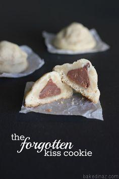 The Forgotten Kiss Cookie - shortbread cookie with a hidden chocolate kiss! bakedinaz.com