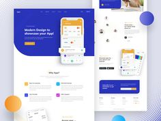 Mobile App Landing Page designed by Saiful Khan for CreativePeoples. the global community for designers and creative professionals. Design Web, Design Logo, Design Poster, Design Layouts, Flat Design, Graphic Design, Best Landing Pages, App Landing Page, Landing Page Design
