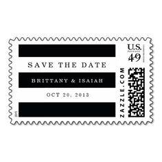 Chic Black Stripes Wedding Postage Stamp