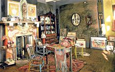 The interior of the artists' studio in Charleston, East Sussex