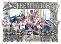 """This gorgeous frame is the perfect for any cheerleader. It is created to house her favorite cheer photo and is designed with classic """"cheer stuff"""" on it! It is guaranteed to be a hit. Cheer Stuff, Cheer Mom, Homemade Picture Frames, Cheers Photo, Cheerleading Pictures, Pretty Photos, Team Gifts, Daughter Love, Stunts"""