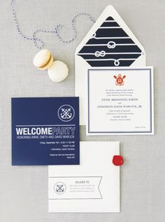 Annie & Davis' Nautical Rehearsal Dinner Invitation | The Lettered Olive