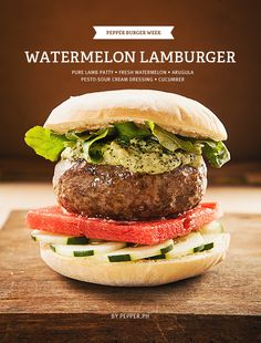 Greek Out to this Lamburger with Watermelon, Arugula, and Pesto Cream | Pepper.ph