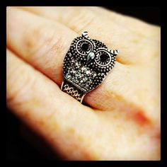 """Say hello to our new """"Owl Always Love You"""" ring (R-010214)! This silver-toned, antiqued finished ring radiates with hints of rhinestones. The innovative hinged closure allows this ring to fit most fingers, making it a perfect holiday gift! This ring is JUST $20 and is only available while supplies last. Hoo, could resist?"""